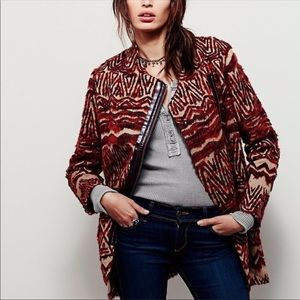 Free people burgundy coat jacket Medium NWT